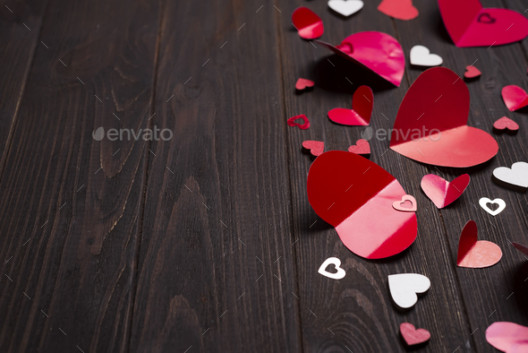 frame of Red paper hearts media love putting - Stock Photo - Images