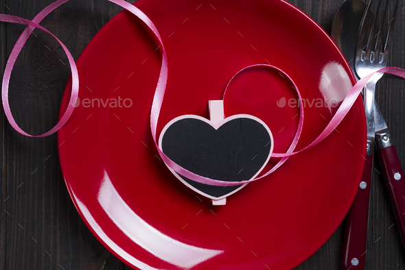 Valentine's Day heart on a plate - Stock Photo - Images
