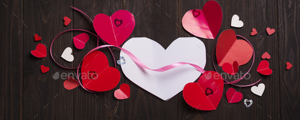 Red paper hearts media love putting - Stock Photo - Images