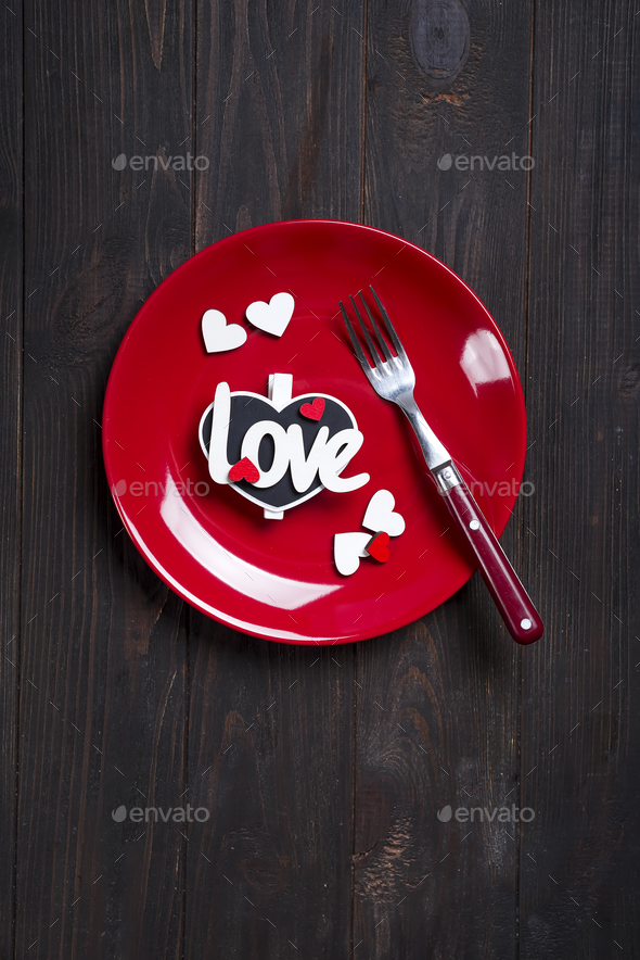 Romantic table setting for Valentines day or wedding - Stock Photo - Images