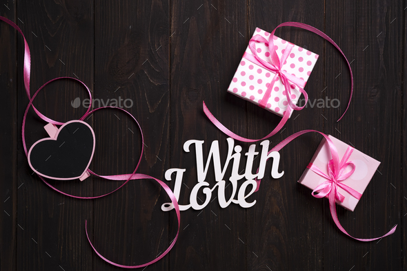 With love lettering and gift box - Stock Photo - Images