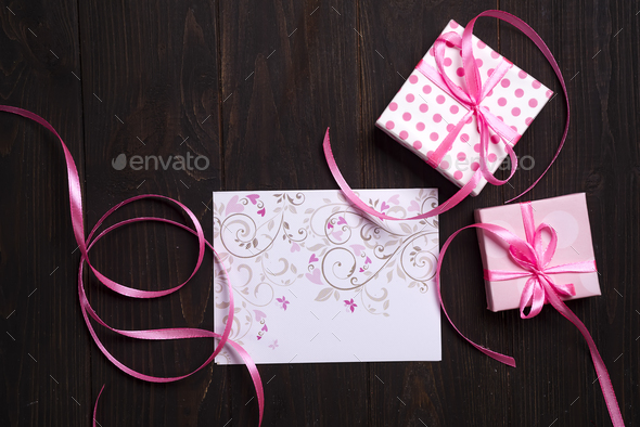 post card pink heart and gift box - Stock Photo - Images