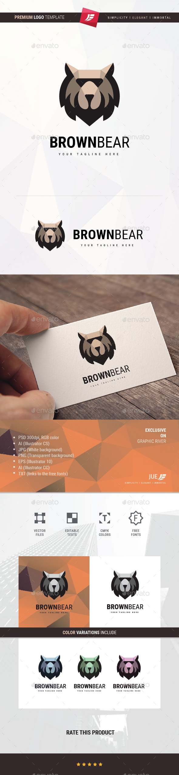 GraphicRiver Brown Bear Logo 21189694