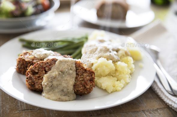 Vegan Lentil Loaf Dinner - Stock Photo - Images