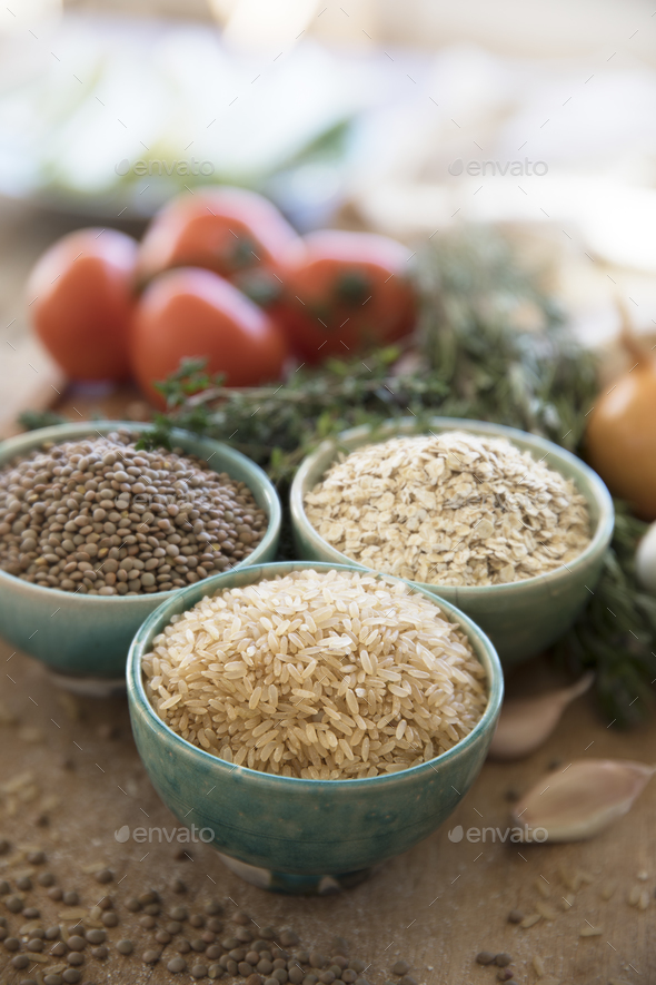 Healthy Cooking Brown Rice - Stock Photo - Images