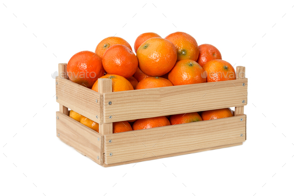 Fresh mandarins in wooden box - Stock Photo - Images