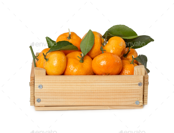 Wooden box with fresh mandarins - Stock Photo - Images