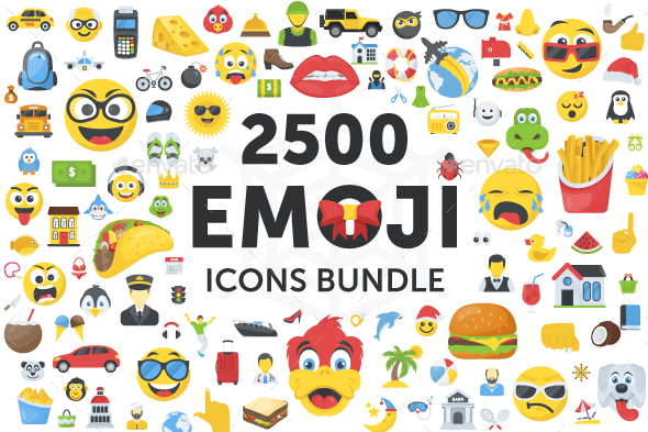 GraphicRiver 2500 Emoji Icons Bundle 21190322