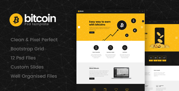 Bitcoin - Cryptocurrency Psd Template