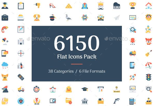 6150 Flat Icons Bundle - Icons