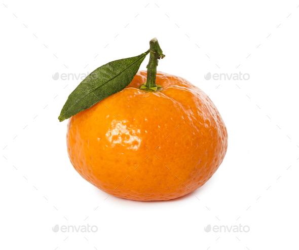 Ripe fresh mandarin with leaf - Stock Photo - Images