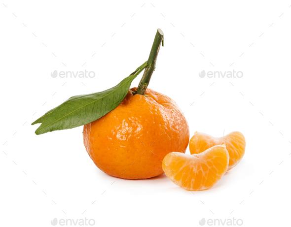 Ripe fresh mandarin with leaves - Stock Photo - Images