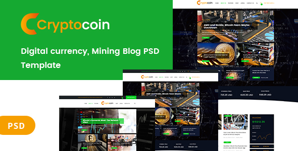 ThemeForest Digital currency and mining blog PSD Template 21190625