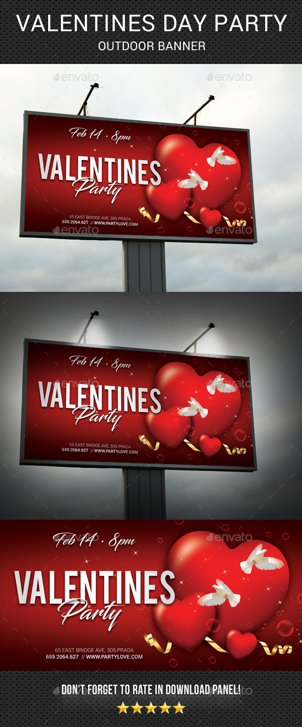 GraphicRiver Valentines Day Party Outdoor Banner 21190714
