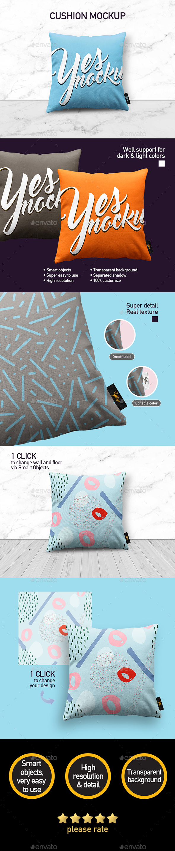 Fabric Pillow Mock up - Miscellaneous Product Mock-Ups