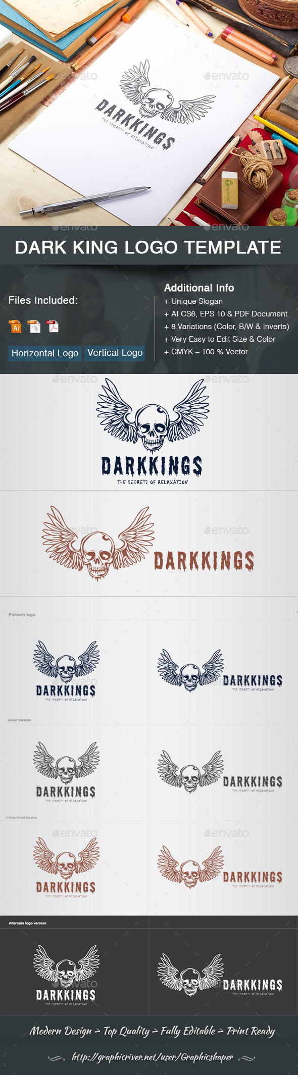 GraphicRiver Dark king Logo Template 21190801