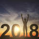 Silhouette Young Woman Happy For 2018 New Year - VideoHive Item for Sale