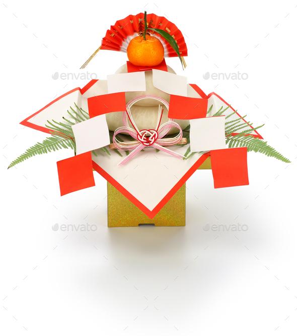 kagami mochi, traditional Japanese new year rice cake decoration - Stock Photo - Images