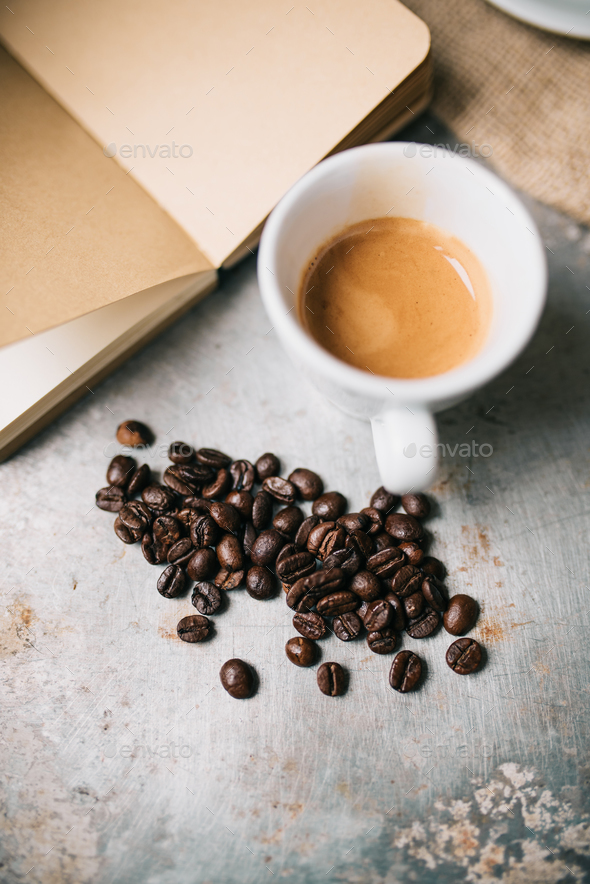 Fresh espresso and coffee beans - Stock Photo - Images