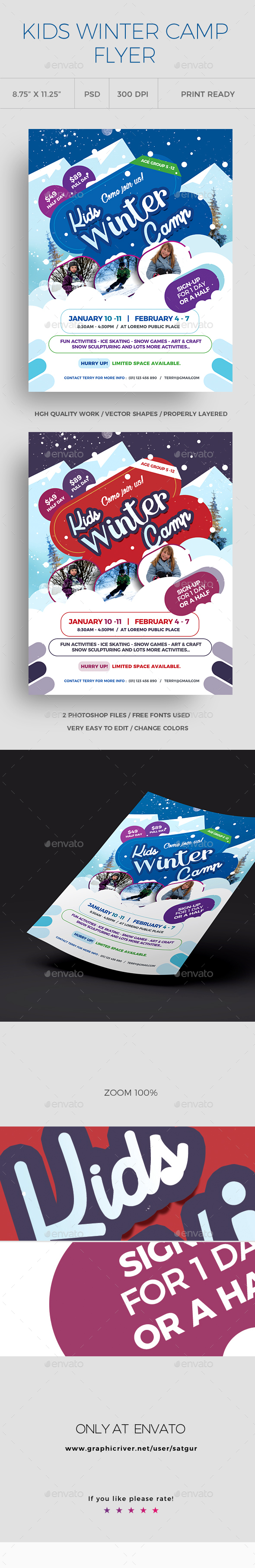 GraphicRiver Kids Winter Camp Flyers 21190939