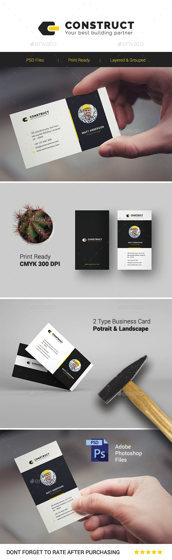 GraphicRiver Construct Multipurpose Business Card Template 21190946