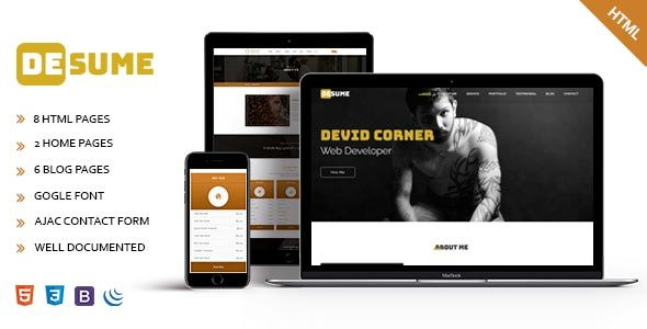 ThemeForest Desume Onepage CV Resume HTML Template 21190957