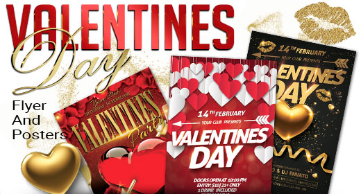 Valentines Day Party Flyer And Poster