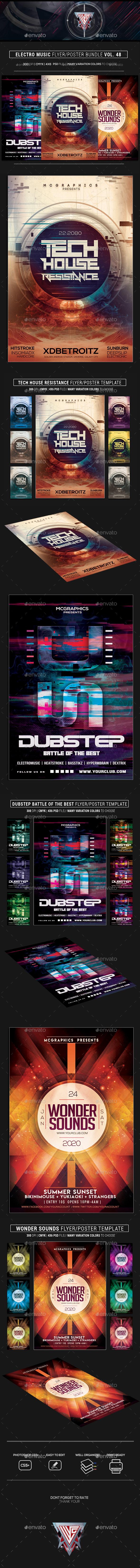 GraphicRiver Electro Music Flyer Bundle Vol 48 21182863