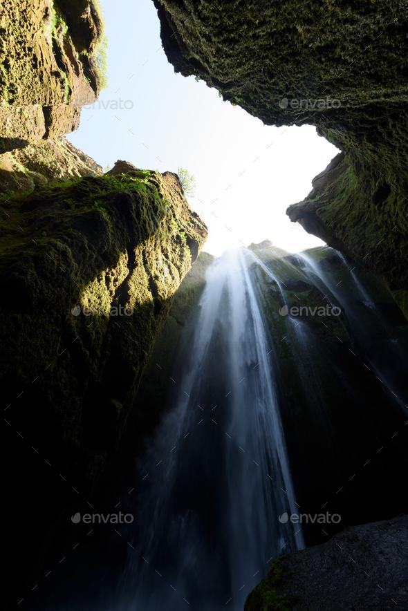 Unique Gljufrabui waterfall - Stock Photo - Images