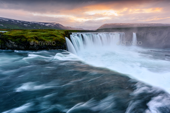Godafoss waterfall on Skjalfandafljot river - Stock Photo - Images