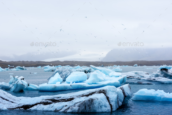 Icebergs in Jokulsarlon glacial lagoon - Stock Photo - Images