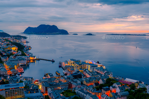 Colorful sunset in Alesund port town - Stock Photo - Images