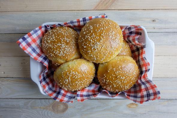 Homemade burger bun on plate - Stock Photo - Images