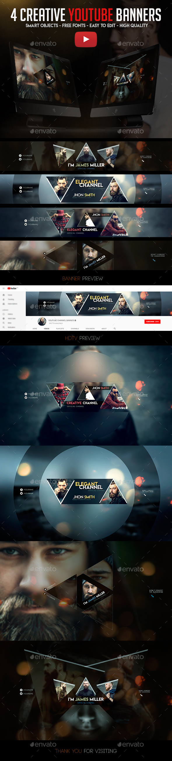 4 Creative YouTube Banners - YouTube Social Media