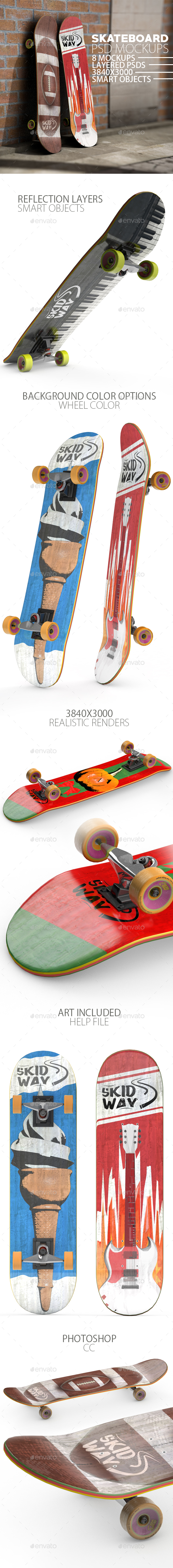GraphicRiver Skateboard 8 Layered PSD Mock-ups 21190329