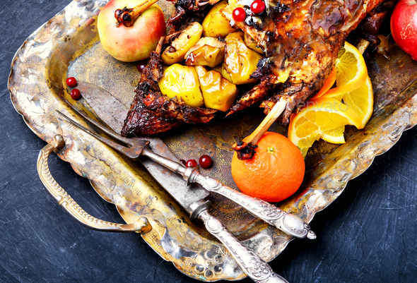 roast duck and oranges - Stock Photo - Images