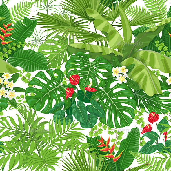 Tropical  Leaves and Flowers Pattern - Patterns Decorative
