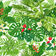 Tropical  Leaves and Flowers Pattern