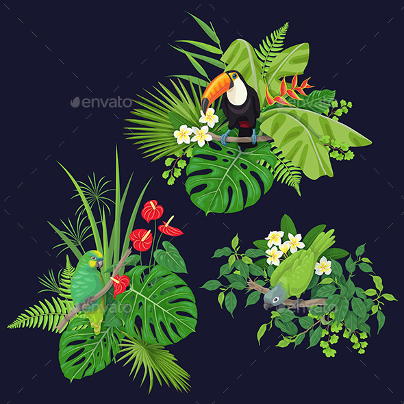 GraphicRiver Green Parrot and Toucan on Tree Branch 21192043