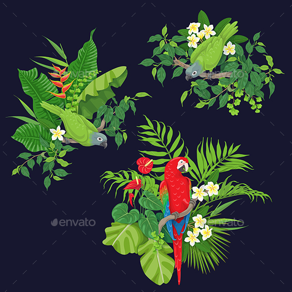 Green Parrots and Red Macaw on Tree Branch - Animals Characters