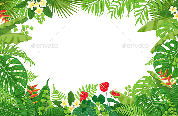 GraphicRiver Tropical Plants Frame 21192067