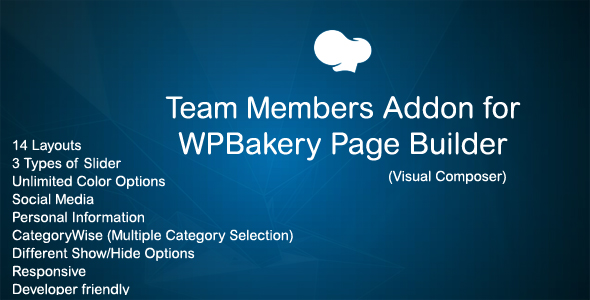 Team Members Addon for WPBakery Page Builder (Visual Composer) - CodeCanyon Item for Sale