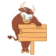 Isolated Bull with Banner Vector Illustration