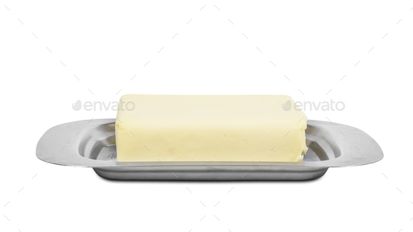 Piece of butter in metal box on white background - Stock Photo - Images