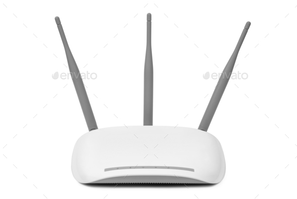 Access point device isolated on white background - Stock Photo - Images