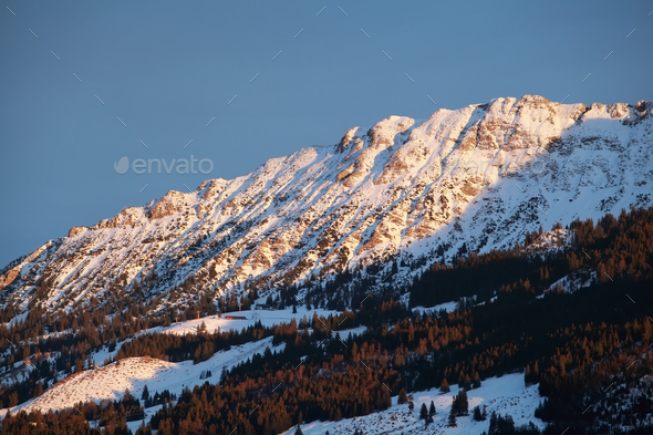 evening sunlight on mountain - Stock Photo - Images