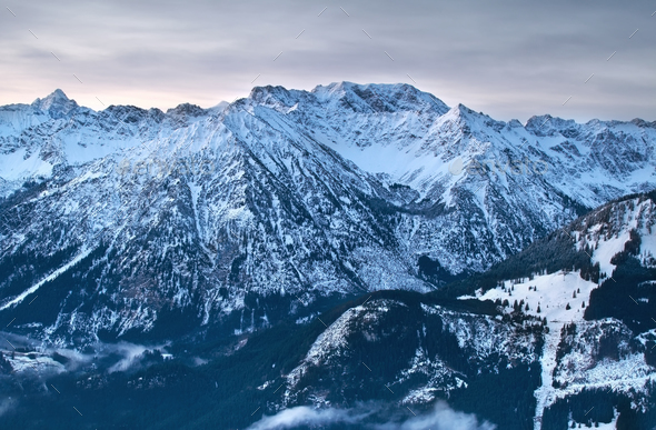 alpine peaks in winter - Stock Photo - Images