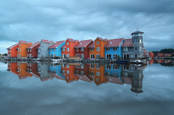 colorful buildings on water - Stock Photo - Images