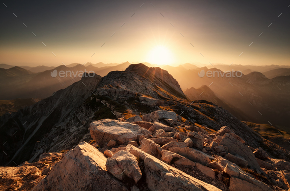 sunrise from mountain top Grosser Daumen - Stock Photo - Images