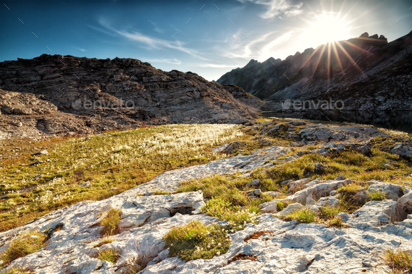 sunshine over alpinr lake between rocks - Stock Photo - Images